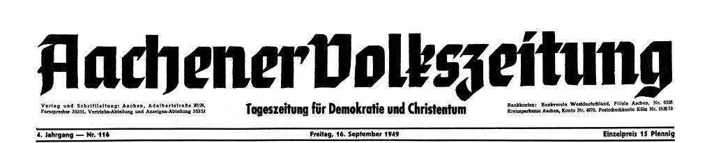 1949: Erstmals tägliche Erscheinungsweise der Volkszeitung